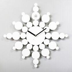 Snowflake Large Wall Clock Modern Steel Home Decor Clock Art Unique Design White