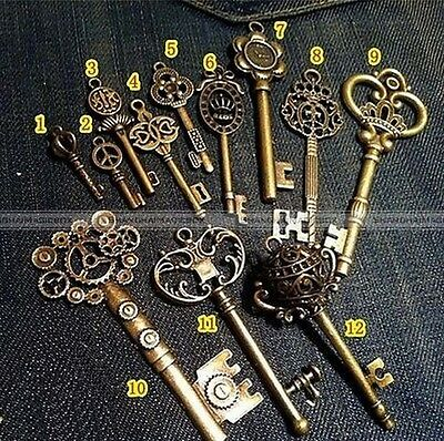 Lot of 12 Large Royal Antique Old Look Vintage Skeleton Charm Pendant Key #SM8