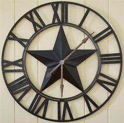 PRIMITIVE LARGE IRON STAR WALL CLOCK IN BLACK By PARK DESIGNS. COUNTRY CLOCK