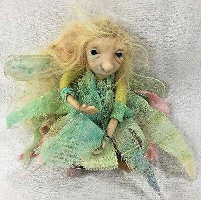 Handmade Polymer Clay Posable Sculpture Small Fairy Blond Hair/Blue Eyes