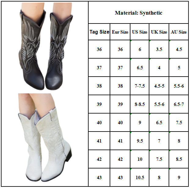 Women Cowgirl Cowboy Boots Mid Calf Winter Western Flats Biker Country Shoes Boots