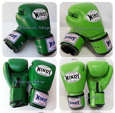 GENUINE LEATHER WINDY BOXING GLOVES BGVH GREEN 8,10,12,14,16 MUAY THAI MMA K1 ](Windy Boxing Gloves)