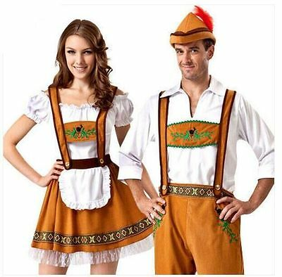 Bavarian Oktoberfest Beer Men Ladies German Maid Costume Parade Dress Lederhosen](Beer Costumes For Men)