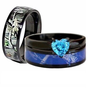 His Her Black Titanium Blue Heart Engagement Camo Couples Wedding Rings (Heart Wedding Set)