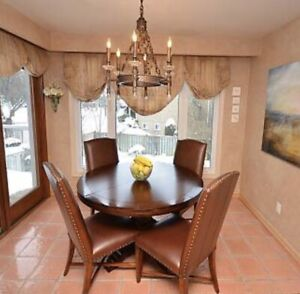 Elizabeth Interiors Dining Table & 4 Leather Parsons Chairs