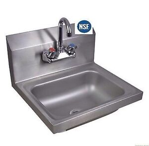 Kitchen Hand Sink : ... Commercial Kitchen Stainless Steel Wall-Mount Hand Sink w/ Faucet New