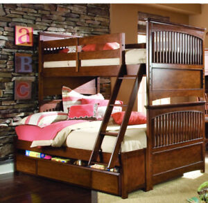 Wood bunk beds twin over double