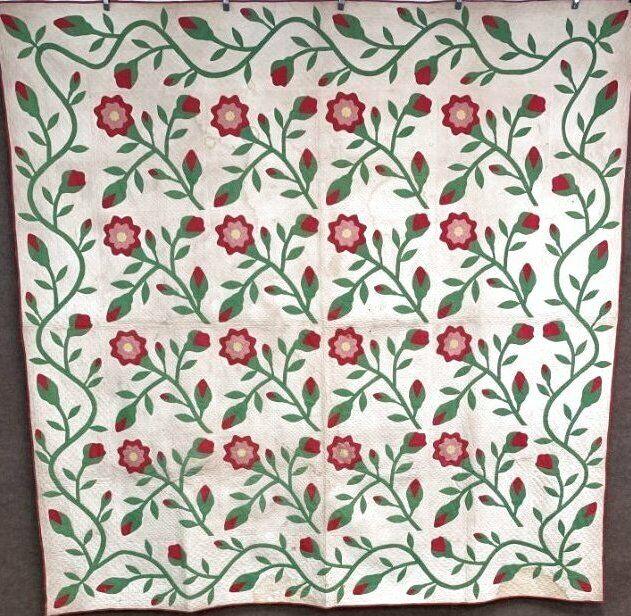 Early c 1860s ALBUM Applique Quilt Antique Turkey Red Fine Quilting!