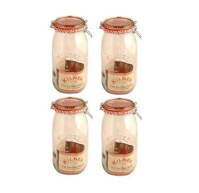 4 x Kilner Clip Top Glass Food Storage Jar Canister Preserver 1.5 Litre - Round