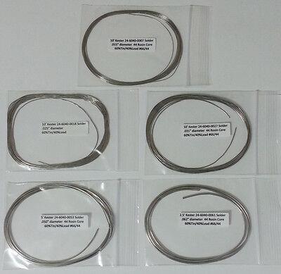 Kester Solder Assortment 6040 Rosin Core 44 5 Diameters .015-.062 Made In Usa