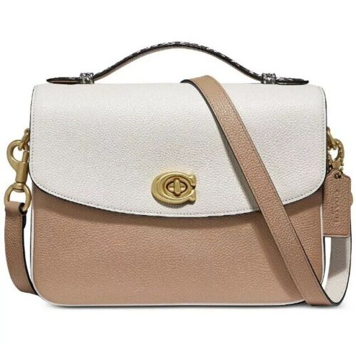 Coach Cassie Chalk Multi Gold Coloblock Leather Crossbody Top Handle Bag