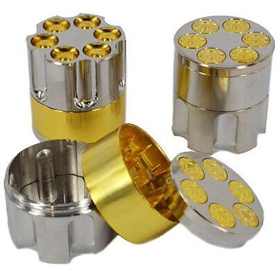 3 PART BULLET HERB GRASS TOBACCO MAGNETIC METAL POLLINATOR GRINDER CRUSHER UK