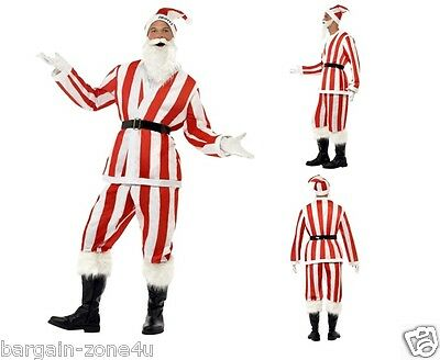 Smiffy's Santa Adult Fancy Dress Christmas Party Custome Stripe Red & White - Custom Santa Kostüm