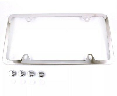 1PC SLIM CHROME STAINLESS STEEL LICENSE PLATE FRAME + SCREW CAPS /SLIM 4 HOLE CF
