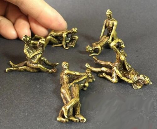 5 Pcs Chinese OLD Brass Handwork Sex Position Figure Statue Amulet RT