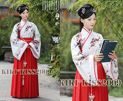China Classical Song Dynasty Red Plums Cotten Han Fu Dress Custom Made