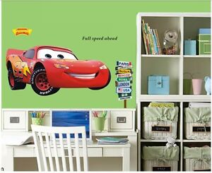 Murals movie cars wall stickers lightning mcqueen kids for Cars movie wall mural