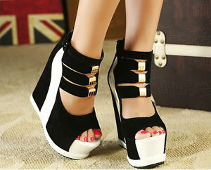 Thick-bottom-color-matching-shoes-sponge-wedge-high-heeled-sandals-fish-mouth