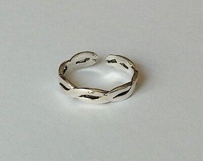 925 Sterling Silver Adjustable Weave Braid Twist Toe Ring New