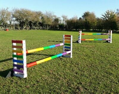 oxer pony horse double show jump wings poles painted any colour of your choice