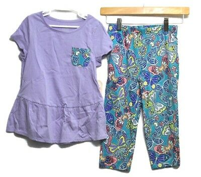 2 New FADED GLORY Girls Tunic Top Shirt Butterfly Capri Pants Outfit Set Sz 8