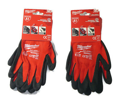2 Pairs of Milwaukee 48-22-8901 Cut Level 1 A1 Dipped Work Gloves - Size M