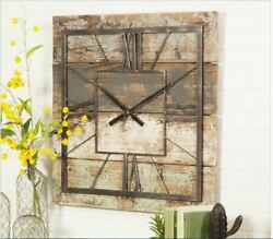 Rustic Solid Wood Iron Wall Clock Decor Weathered Indoor Porch Cabin Lake House