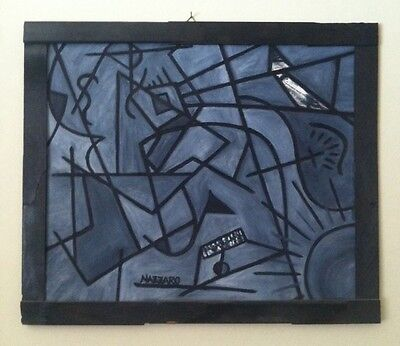 Oil Painting Man At Beach Canvas Art Abstract Original Framed Cubism Picasso