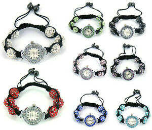 Shamballa-bracelet-watch-crystal-disco-ball-friendship-macrame-sparkling-bead