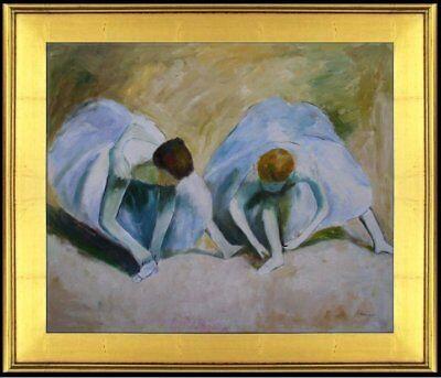 Degas Ballerina Paintings - Framed Hand Painted Oil Painting Repro Edgar Degas Ballerinas 20x24in