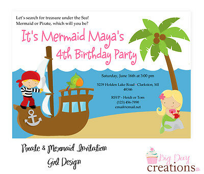 Pirate and Mermaid Birthday Party INVITATION U PRINT DIY PERSONALIZED