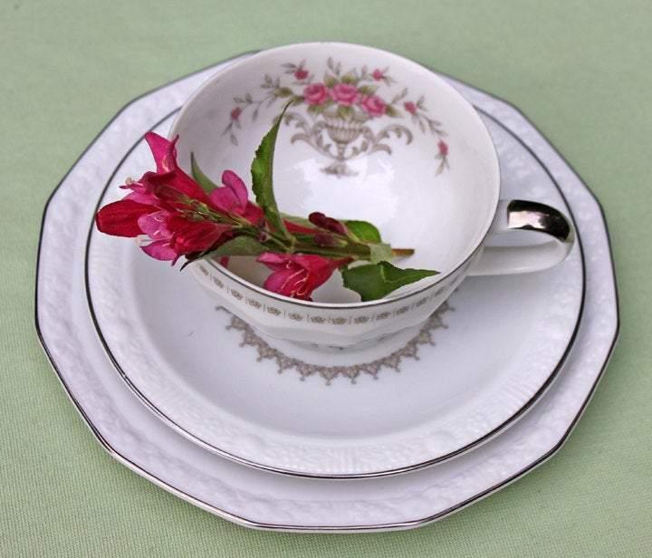 Vintage Tea Cup & Saucer & Plate Set - Harmony House Michelle Porcelain Trio