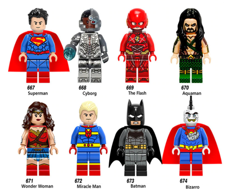 NEW MINIFIGURES lego MOC Super Heroes Wonder Woman Miracle Man Btaman Aquaman Th