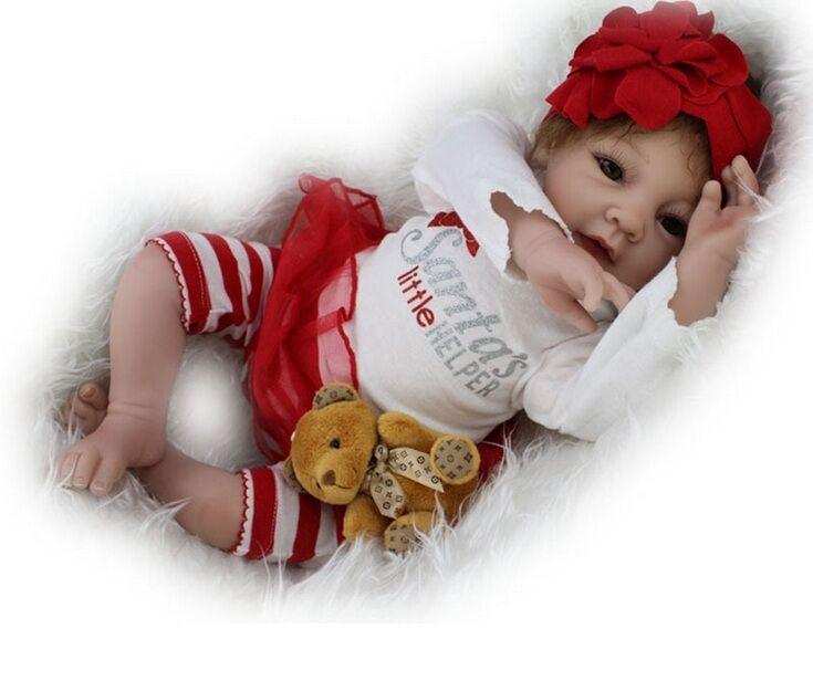 "22"" Lifelike Reborn Baby Doll Silicone Cute White Girl Newborn Doll Handmade"