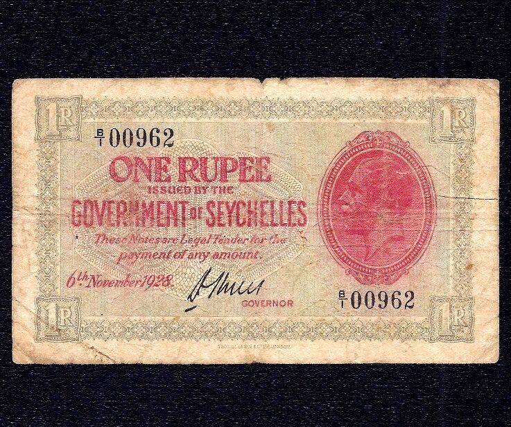 Seychelles 1  Rupee 1928  * King George V *  P-2d   ( low serial ) RARE