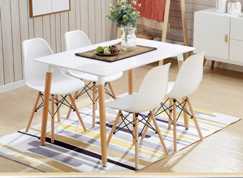 Image Rectangle White Dining Table And 4 White Dining Chairs Retro DSW Eiffel Style