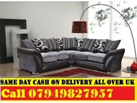 NEW STYLE 50% OFF CORNER FARIC SOFA SUITE IN LEATHERETTE STYLE