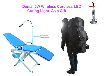 Updated Portable Dental Chair Gu-p109a-2 With Led Light Backpack Us Stock