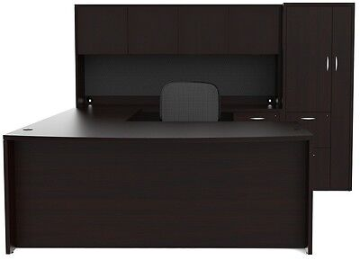 New Amber Bowfront U-shape Executive Office Desk With Hutch And Wardrobe Storage