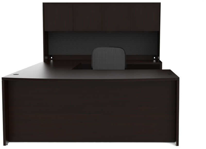 New Amber Bowfront U-Shape Executive Office Desk Shell with Hutch
