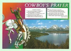 Cowboy's Prayer Postcard Horse Western Rider Mountains Water Trees Unposted New