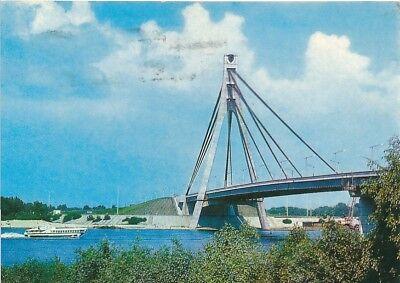 alte AK Brücke in Russland CCCP gelaufen Ansichtskarte B229g