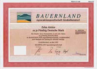 Bauernland Agraraktiengesellschaft Großolbersdorf 1993 Marienberg Grünau 500 DM