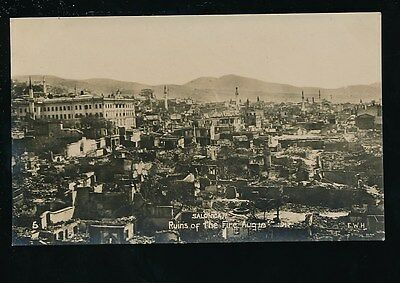 Greece SALONIQUE Salonica Fire disaster 1917 Ruins general view RP PPC