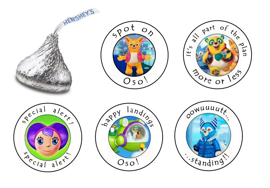 90 Hershey Kiss Candy Stickers Labels Special Agent Oso Birthday Party Favors