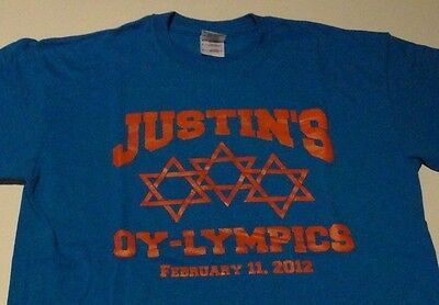 JEWISH BAR MITZVAH Olympic Theme Justin Party Star of David T Shirt size - Olympic Themed Party