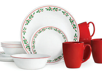 As seen below Cheerful Flurry (left) is a whimsical pattern of bright red and green snowflakes while Birds and Boughs (right) feature a festive pattern of ...  sc 1 st  eBay & CORELLE-CHRISTMAS-HOLIDAY-DINNERWARE-