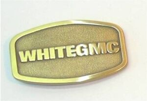 Vintage WhiteGMC Trucks Brass Belt Buckle