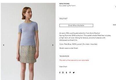 ACNE STUDIOS Eva Laddering Rib T-shirt Size S