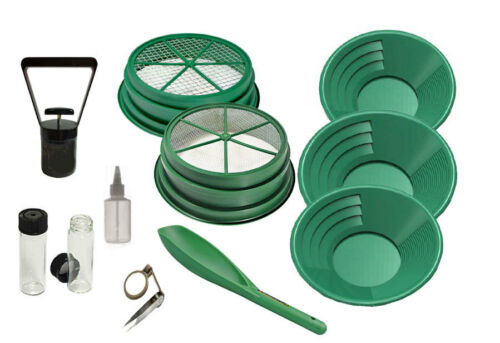 11 Piece Gold Silver Panning Kit Set Sifter Pan Snifter Bottle Tweezers Vials